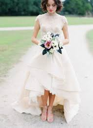 Country High Low Wedding Dresses Lace Gowns Tiered Skirts Boho Bridal Dress Collar Vestido De Noiva Cap Sleeve Rustic