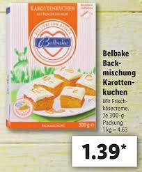 belbake backmischung karottenkuchen 300 g angebot bei lidl