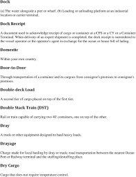 100 Truck Bills Of Lading Glossary International Shipping Terms PDF
