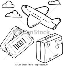 Air Travel Objects Sketch Vector