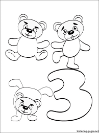 Number 3 Coloring Pages Three Page