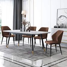 tukailai esszimmerstühle 4er set küchentheke lounge freizeit wohnzimmer eckstühle braunes kunstleder