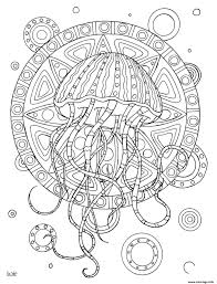 Coloriage Jellyfish With Tribal Pattern Adulte JeColoriecom
