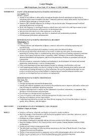 Download Senior Manufacturing Technician Resume Sample As Image File