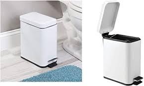 idesign mülleimer kleiner tretmülleimer aus kunststoff und metall abfalleimer mit deckel und fußpedal für küche und badezimmer weiß