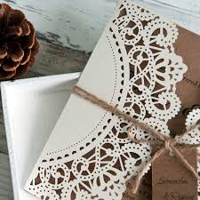 Affordable Rustic Laser Cut Wedding Invitation With Tag EWWS040