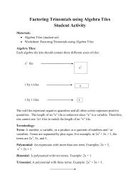 algebra tiles factoring factoring trinomials using algebra tiles student