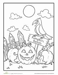 Pumpkin Patch Coloring Pages Printable by Spooky Coloring Pages Funycoloring