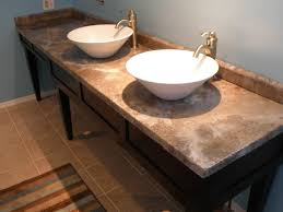 36 Double Faucet Trough Sink by Sand Granite Countertop With Rounded Undermount Sink Combined With