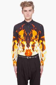 alexander mcqueen fire print shirt in black for men lyst