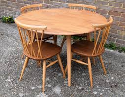 1960s Ercol Drop Leaf Round Dining Table & Set Of Four Ercol Candlestick  Chairs