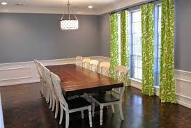 Dining Room Paint Ideas With Chair Rail Fabric Stand On Wooden Floor Cushions Design Natural Varnished Oak Wood Shelf L Shaped Brown