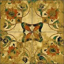 floor tile medallion mural montillio gold pattern ob