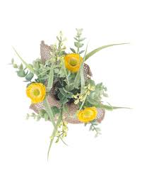Yellow Artificial Daisy Flowers Arrangement In Rustic Burlap Pot