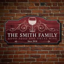 Wine And Family Custom Wooden Sign 3 Color Options
