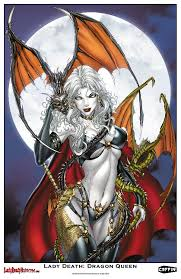 Lady Death Dragon Queen Print 11 X 17 Glossy Cardstock Illustrated By DragonCon Guest Jamie Tyndall Limited To 200 Serial Numbered Copies 2000