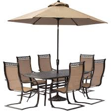 7 Piece Patio Dining Set With Umbrella by Hanover Traditions 7 Piece Aluminum Round Outdoor Dining Set With