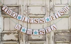 BEACH Wedding Signs Engaged Banners 2 LESS FISH Starfish Banner Rustic Engagement Party Decorations
