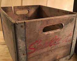 Antique Sealtest Milk Crate Box Rustic Wood And Steel