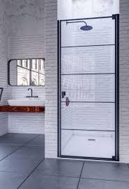 doccia cixi schwingtür in nische duschkabine schwarz