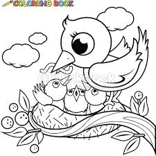 Cute Birds In The Nest Coloring Book Page Vector Art