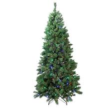 Christmas Trees Prelit by 7 Ft Pre Lit Single Plug Slim Glacier Artificial Christmas Tree