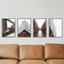 hamburg poster set 4er set für dein wohnzimmer nordliebe hamburg bilder elbphilharmonie speicherstadt ohne rahmen