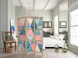 paravent mandala abstrakt 135x171 cm 3 teilig einseitig eleganter sichtschutz raumteiler trennwand raumtrenner holz design motiv