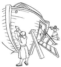 Flood Coloring Pages Clipart Noah Building Ark Pencil And In Color