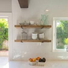 Reclaimed Wood Shelves In Kitchen