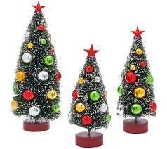 Qvc Christmas Tree Recall by Set Of 3 Graduated Bottle Brush Trees With Decorations Page 1