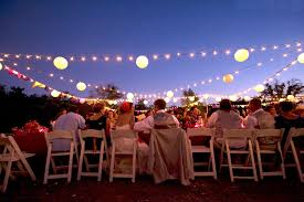 Outdoor Wedding Reception Lights And Papel Picado Banners
