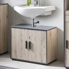 bad adria waschbecken unterschrank 65 cm breit mit 2 türen korpus eiche sand dekor absatz graphit