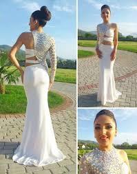 shiny silver crystal one shoulder prom dress white mermaid