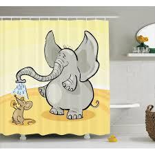 Leopard Print Bathroom Set Walmart by Elephants Decor Shower Curtain Set Elephant Bathing Mouse With