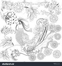 Tropical Wild Bird And Flowers Coloring Book For Adult Older Children Page