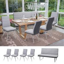 set 4x esszimmerstuhl sitzbank hwc g54 bank küchenstuhl stuhl stoff kunstleder edelstahl grau bank 160cm