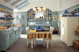 Cool Blue And Yellow Tile Country Kitchen Interior Design Ideas On The