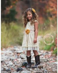 Lace Rustic Flower Girl Dress Champagne Dresses Country Chic