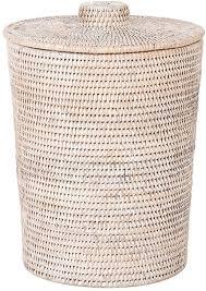 kouboo la jolla rattan runder kunststoffeinsatz deckel groß weiß gewaschen für schlafzimmer wohnzimmer und badezimmer korb für trockene oder
