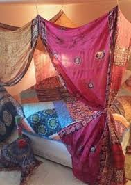 Bed Canopy Bohemian Gypsy Bedroom Boho Decor Pink India Fabric Curtain