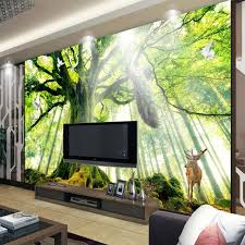 Trees Woods Forest Photo Wallpaper Custom 3d Natural Landscape Wall Mural Art Room Decor Bedroom Home Decoration Peacock Sika Deer Wallpapers