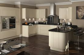 Fancy Kitchen Cabinets Ideas With Cream And Black U Shaped Base Cabinet Hardwood Flooring