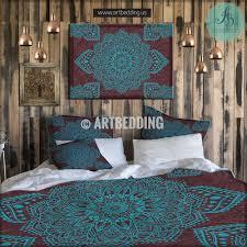Blue Tie Dye Bedding by Bohemian Bedding Lace Mandala Duvet Cover Set Boho Chic Quilt