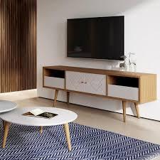 Living The Furniture Panel Mounted Led Bedroom Media Cabinet