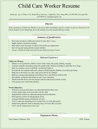 Child Cover Letter Care Skills Resume For Childcare Job