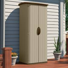 Suncast Plastic Garage Storage Cabinets by Durable Double Wall Resin Outdoor Garden Tool Storage Shed Made