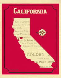 California Map Print Heart State