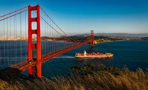 100 Shipping Containers San Francisco Golden Gate Bridgesuspensionsan Franciscocaliforniabarge Free