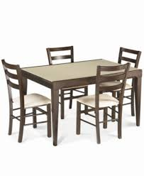 café latte 5 piece dining set glass top dining table and 4